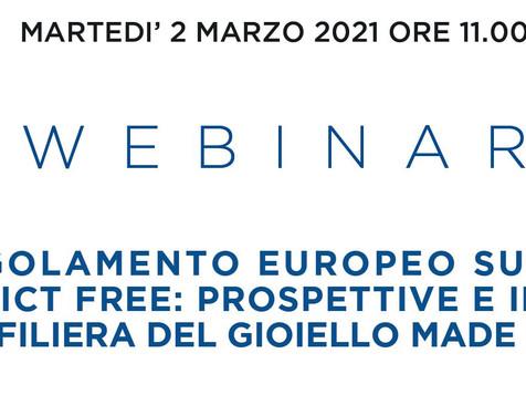 """ORAFI  -2 marzo 2021 ore 11 webinar """"Il regolamento europeo sull'oro conflict free"""""""