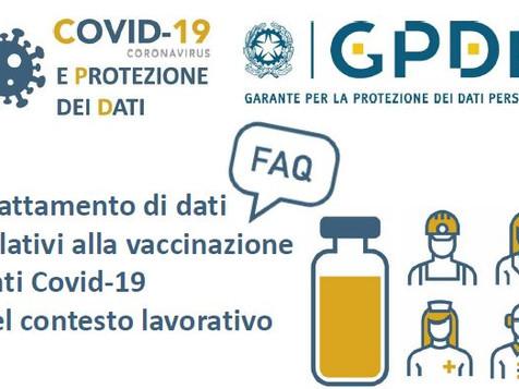 Trattamento di dati relativi alla vaccinazione anti Covid-19 nel contesto lavorativo