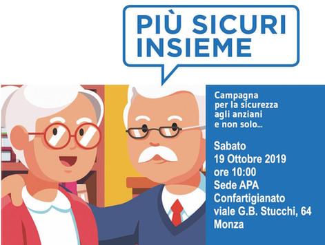 """A Monza anziani """"più sicuri insieme"""" sabato 19 ottobre l'incontro promosso da Confartigianato e dall"""