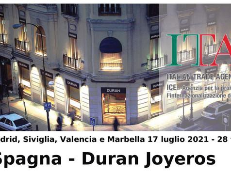 Gioielleria :Partecipazione al progetto ICE oreficeria con GDO Spagna Duran Joyeros