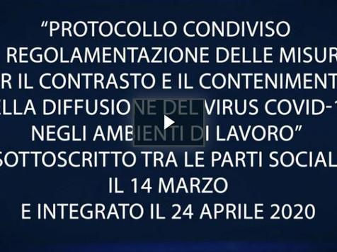 Covid-19: online la versione integrale del video sul Protocollo tra le parti sociali