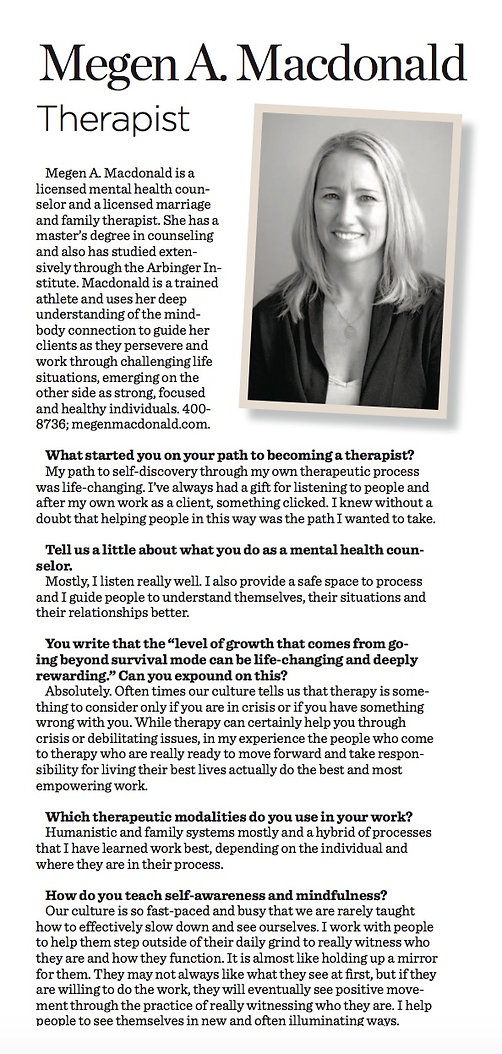 article in Sarasota Style Magazine on Megen A. Macdonald, LMHC, LMFT