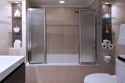 Master bathroom renovated & staged