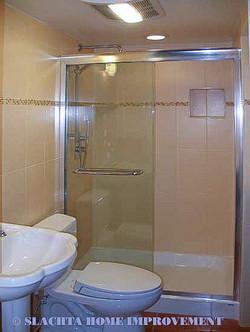 Powder room become full bathroom