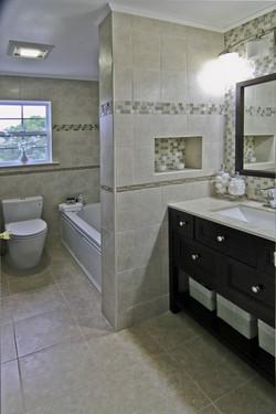 Hallway bathroom renovated & staged