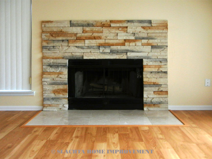 Fireplace surrounded by plaster tile