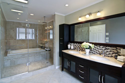 Master bathroom with wet room