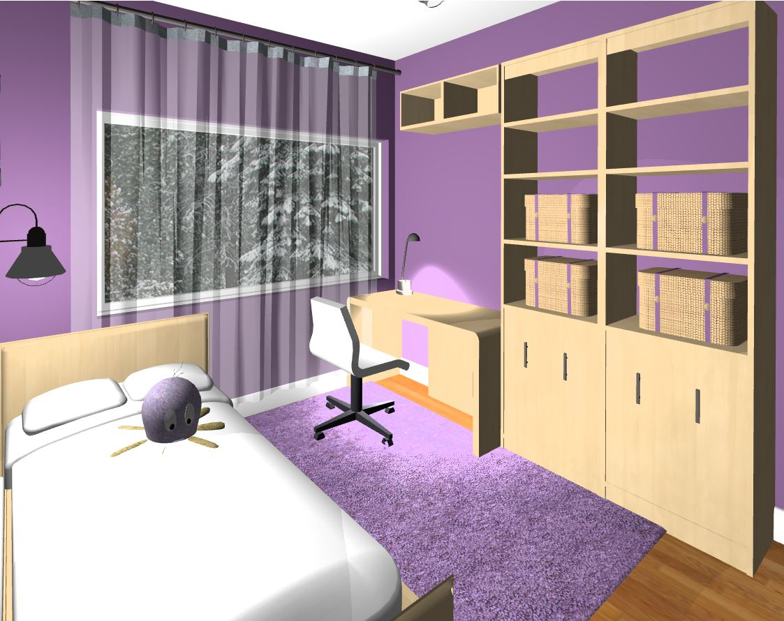 Girl's room rendered view