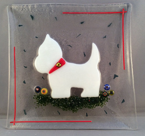 Fused Glass Square Westie Dog Dish
