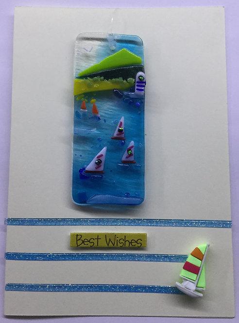 Glass Lighthouse Sea Scene Card