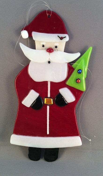 Fused Glass Santa Christmas Hanger