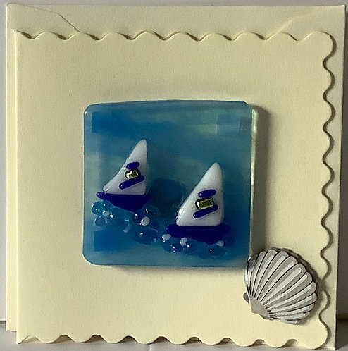 Glass Sail Boats Magnet Card