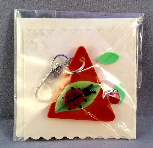 Fused Glass Lady Bird Keyring Card