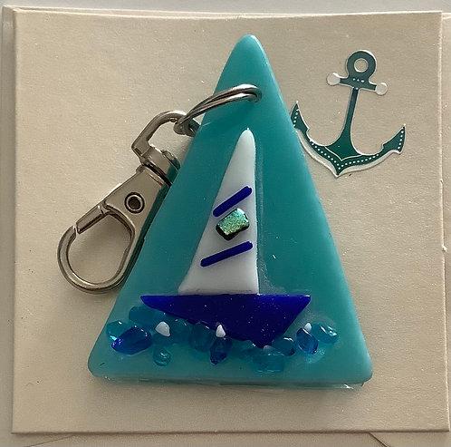 Glass Sailing Boat Keyring Card
