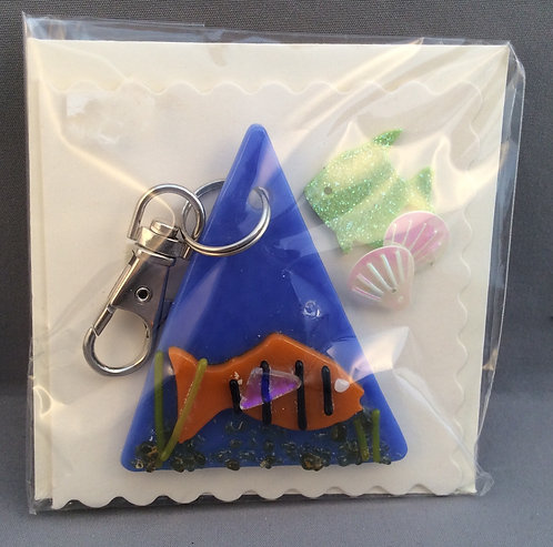 Fused Glass Fish Keyring Card