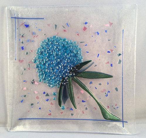 Fused Glass Square Hydrangea Dish