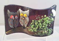 Fused Glass Night Owls Tealight