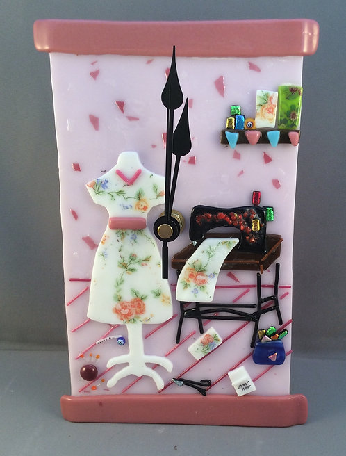 Fused Glass Sewing Room  Wall Clock