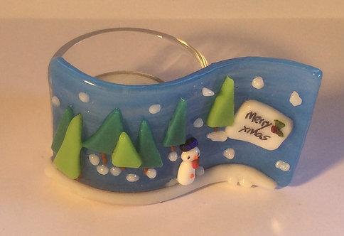Fused Glass Christmas Snowman Tealight
