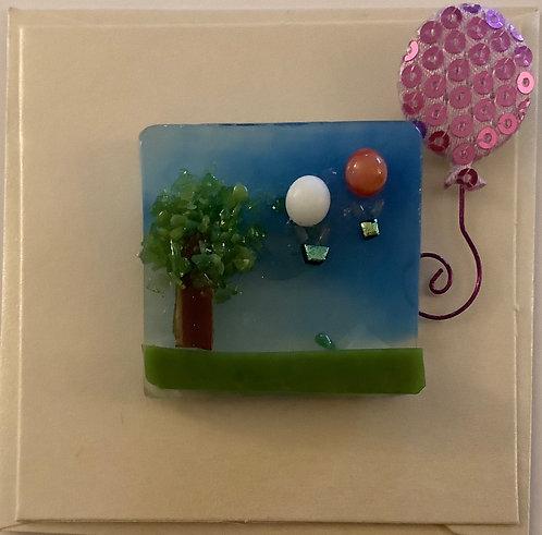 Glass Hot Air Balloon Magnet Card