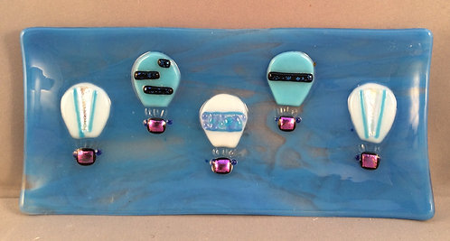 Fused Glass  Blue Hot air Balloon Dish