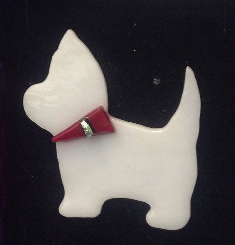 Fused Glass Westie Dog  Brooch