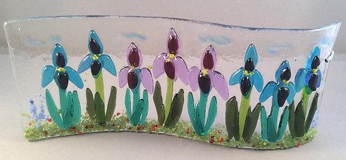 Freestanding Fused Glass Iris Wave