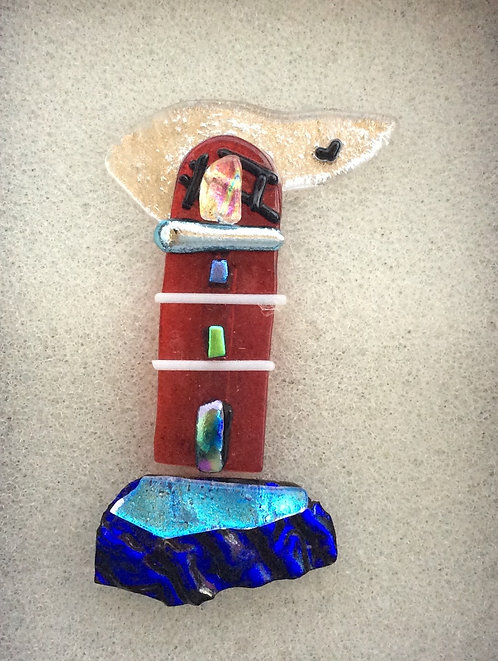 Fused Glass Lighthouse  Brooch