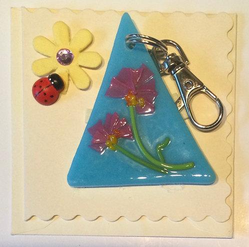 Glass Confetti Flower Keyring Card