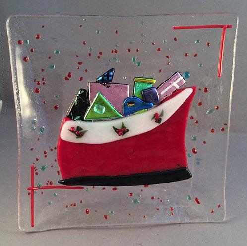 Fused Glass Christmas Sledge Dish