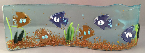 Freestanding Fused Glass Fish Wave