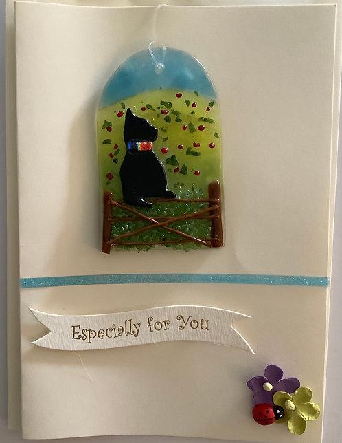 Glass Black Cat Card