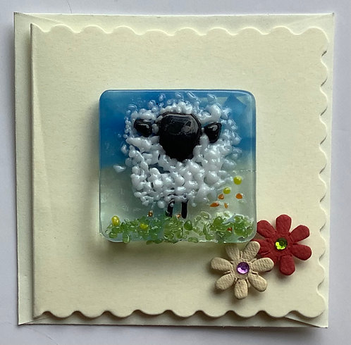 Glass Sheep Magnet Card