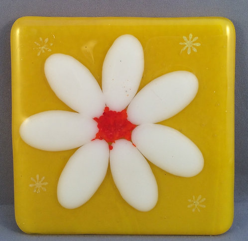 Fused Glass Daisy Coaster
