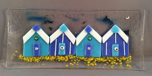 Fused Glass Blue Beach Hut Dish
