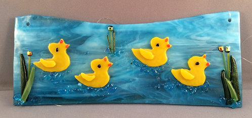 Fused Glass Ducks on The Water Hanger