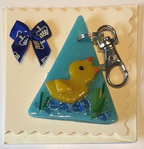 Glass  Duck  Keyring Card