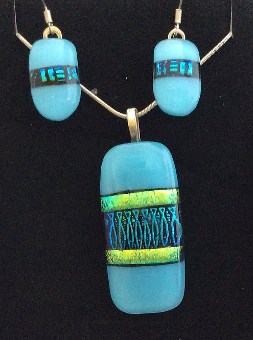 Fused Glass Abstract  Print Necklace & Drop Earring Set
