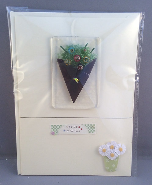 Fused Glass  Flower Bouquet  Card