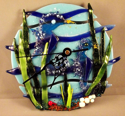 Fused Glass seahorse clock