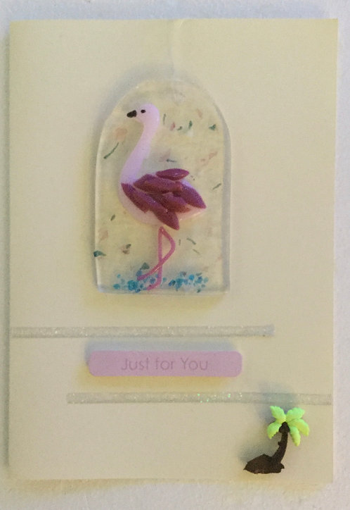 Glass Flamingo Card