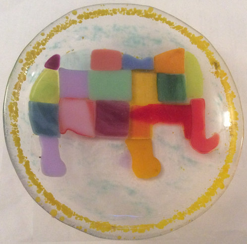 Fused Glass Small Patchwork Elephant