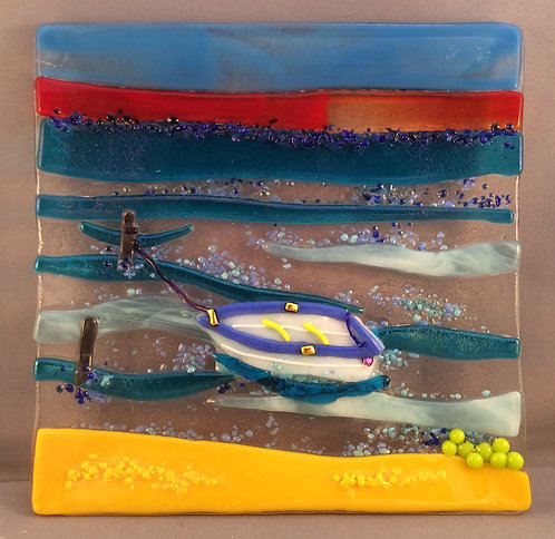 Fused Glass Square Rowing Boat Dish