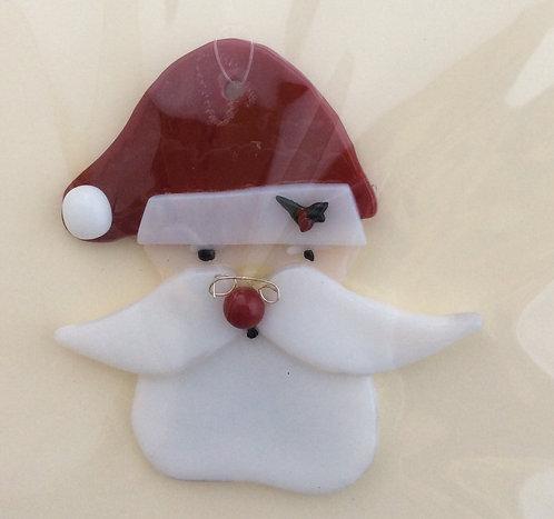 Fused Glass Santa Head  Christmas Hanger