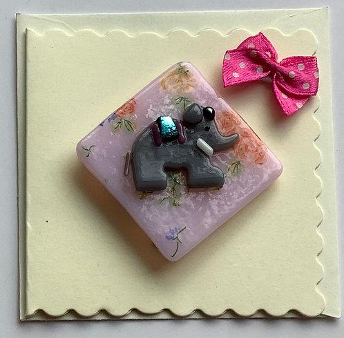 Glass Elephant Magnet Card