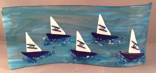 Freestanding  Fused Glass Sail Boats Wave