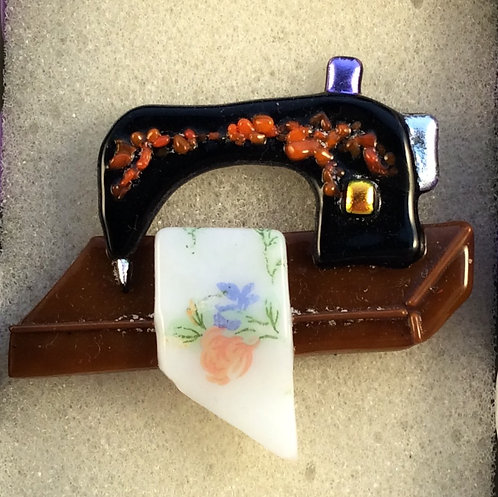 Fused Glass Sewing Machine Brooch