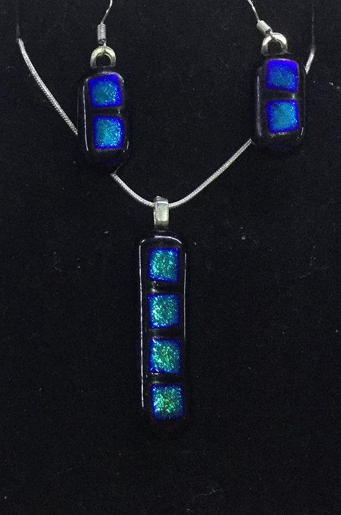 Dichroic Rectangle Bar Jewellery Set