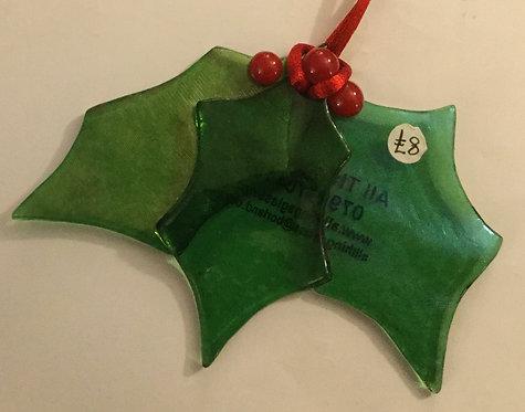Glass Christmas Holly Leaves Hanger