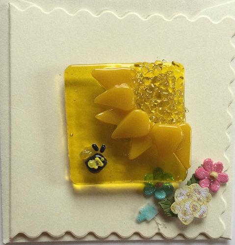 Glass Sunflower Magnet Card